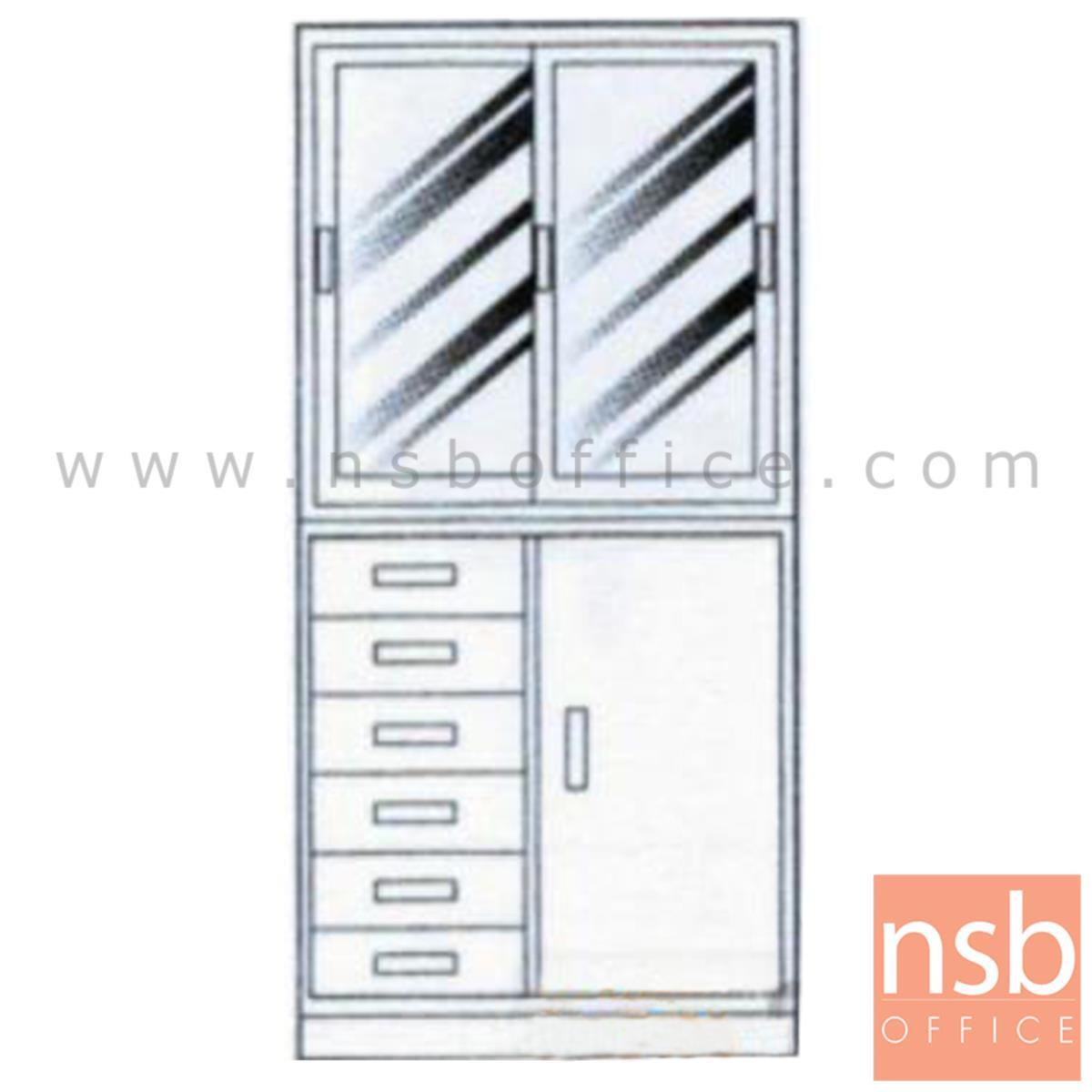 E02A043: ชุดตู้เก็บเอกสารเหล็ก 3 ฟุต บนบานเลื่อนกระจก ล่าง 6 ลิ้นชักเอนกประสงค์ พร้อมฐานรอง