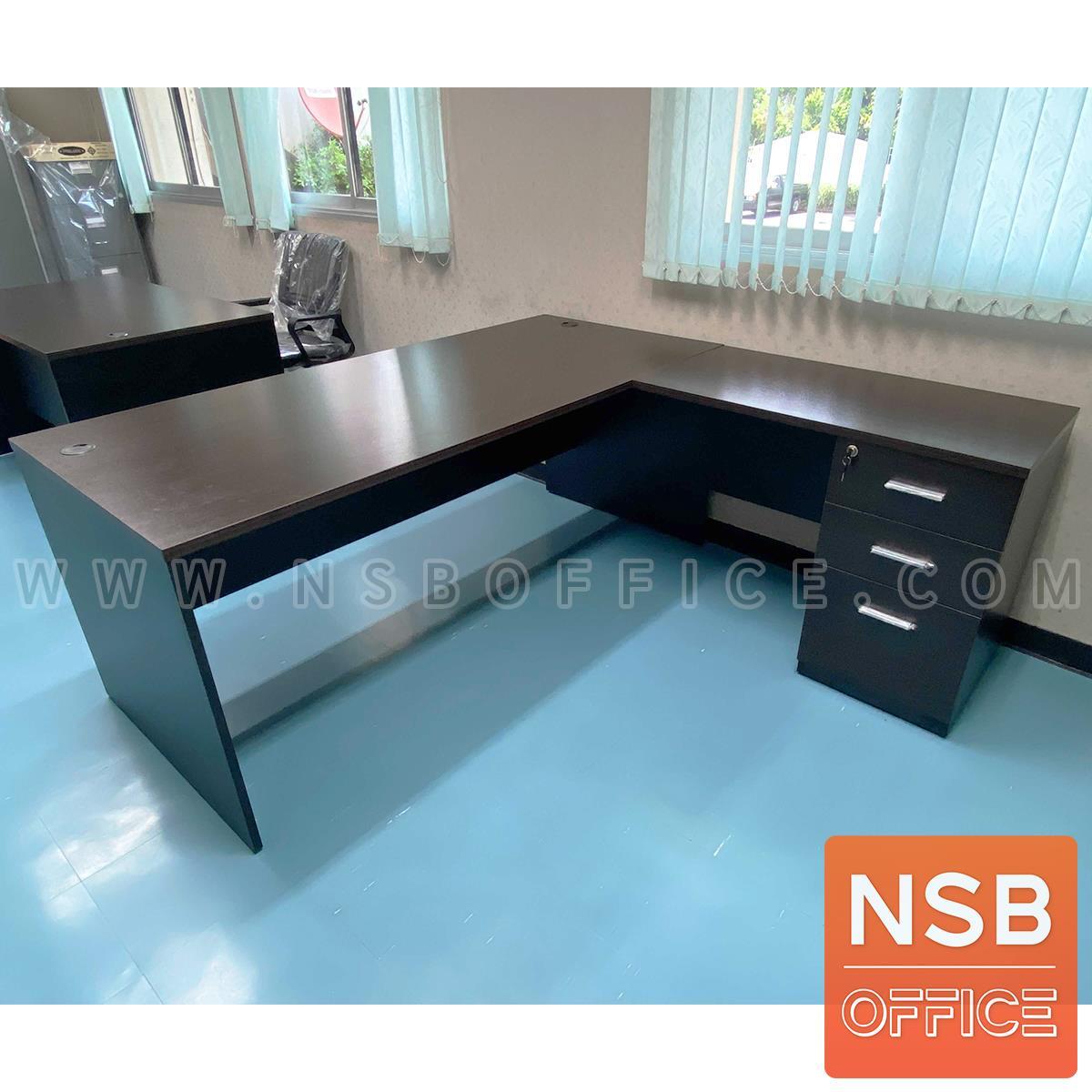 A30A039:โต๊ะผู้บริหารตัวแอล รุ่น Bonita (โบนิต้า) ขนาด 180W*180D cm. พร้อม 3 ลิ้นชักข้าง กุญแจล็อกรวม