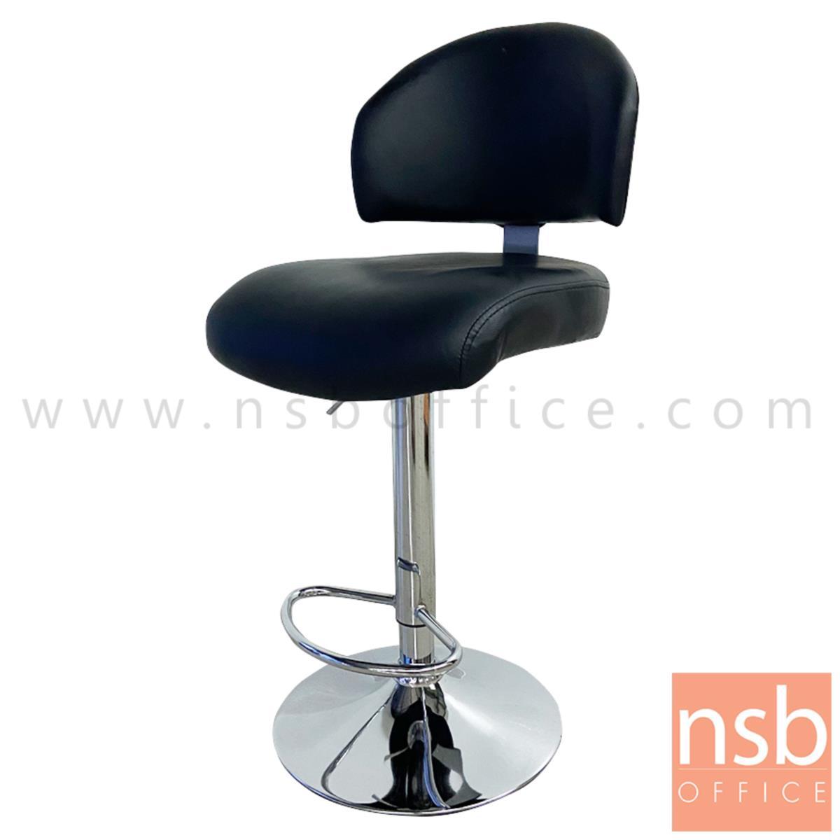 B09A223:เก้าอี้บาร์ที่นั่งเหลี่ยมมีพิง รุ่น Favreau (แฟฟโรว์)  ขาเหล็กจานกลมชุบโครเมี่ยม