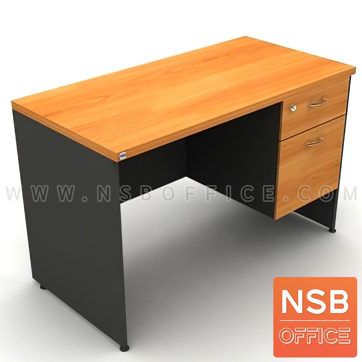 A16A032:โต๊ะทำงาน 2 ลิ้นชัก  รุ่น Kirshner ขนาด 150W cm. เมลามีน สีเชอร์รี่ดำ