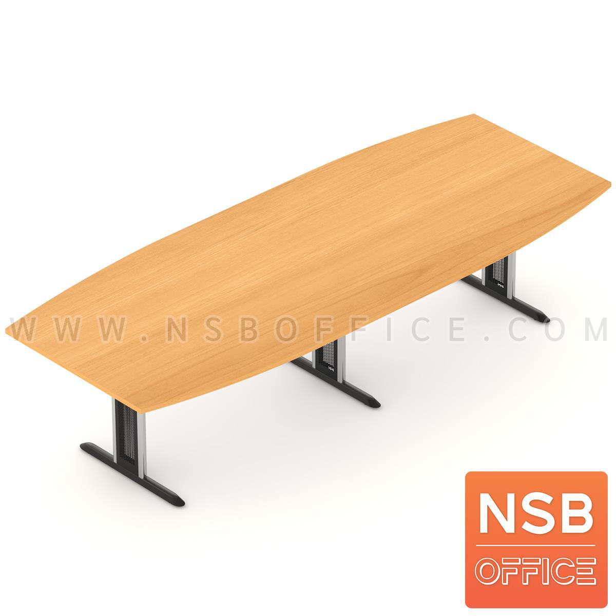 A05A124:โต๊ะประชุมทรงเรือ  ขนาด 300W ,360W ,400W ,480W cm. พร้อมระบบคานเหล็ก ขาเหล็กตัวไอ
