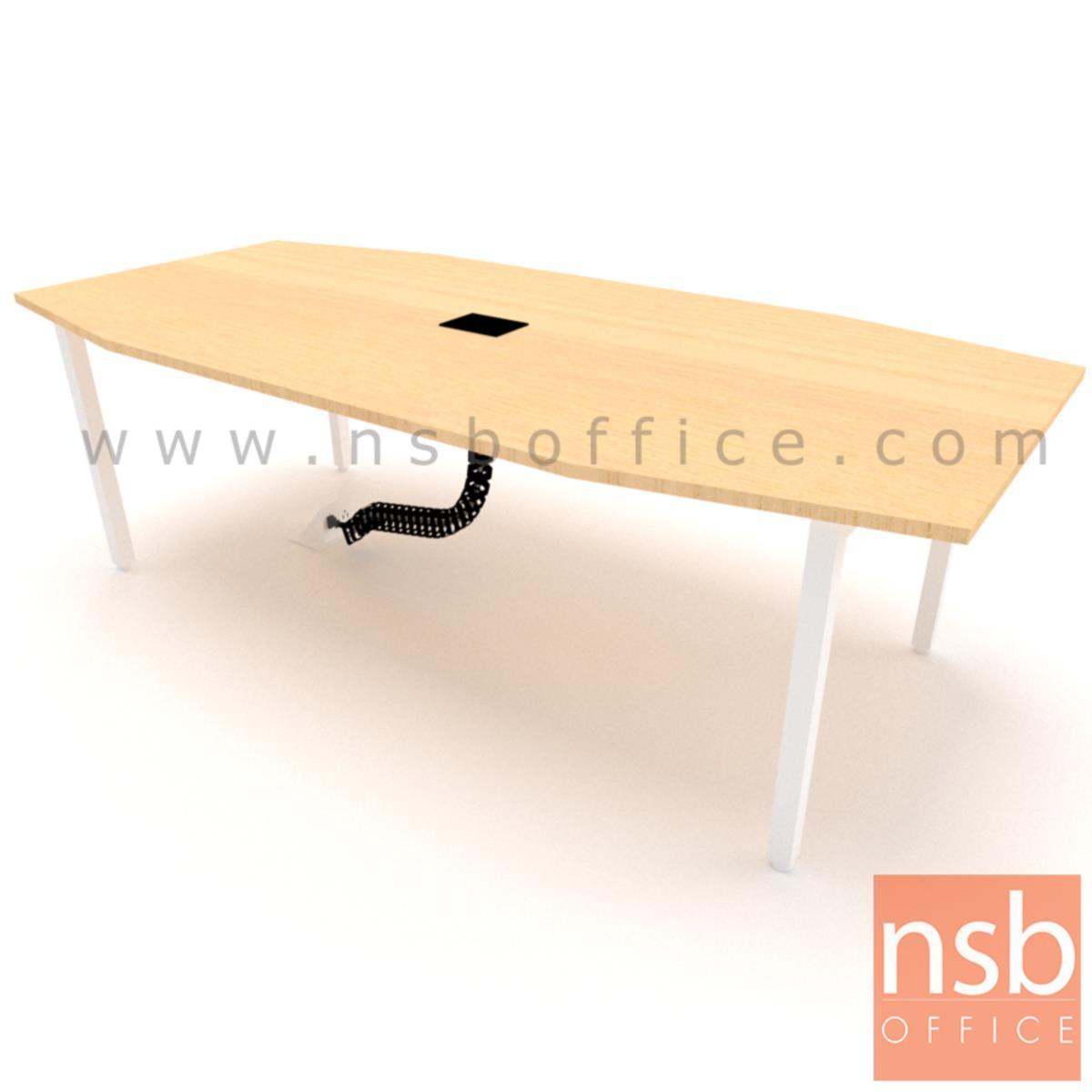 โต๊ะประชุม ทรงเรือ  ขนาด 240W*120D cm. พร้อมป็อบอัพหน้าโต๊ะและกระดูกงูร้อยสายไฟ