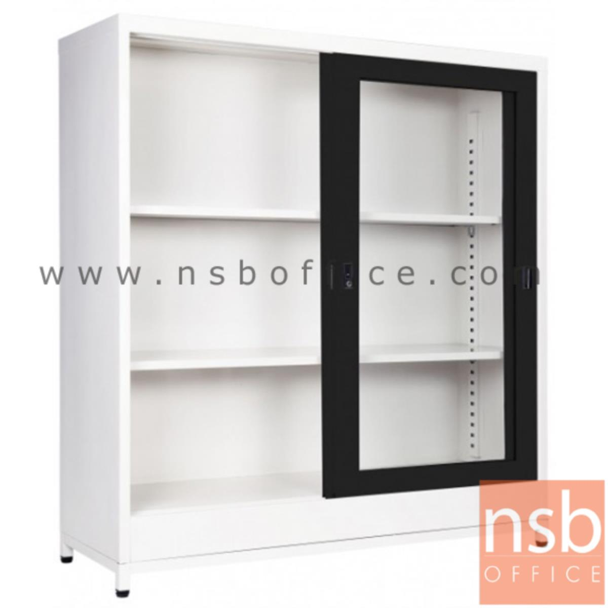 E21A018:ตู้บานเลื่อนกระจก 4 ฟุต สูงพิเศษ 122H cm (พร้อมฐานรองแบบขาลอย)  SGD-120