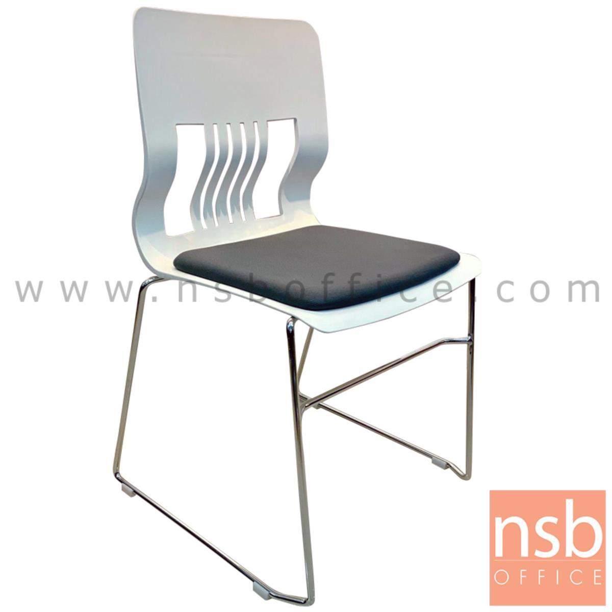 B05A171:เก้าอี้อเนกประสงค์เฟรมโพลี่ รุ่น Wyndham (วินดัม)  ขาเหล็กเพลาตัน ชุบโครเมี่ยม