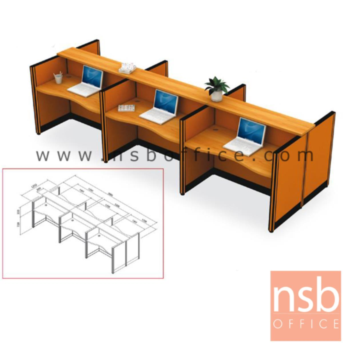 A04A052:ชุดโต๊ะทำงานกลุ่ม 6 ที่นั่ง   พร้อมที่วางของส่วนกลาง