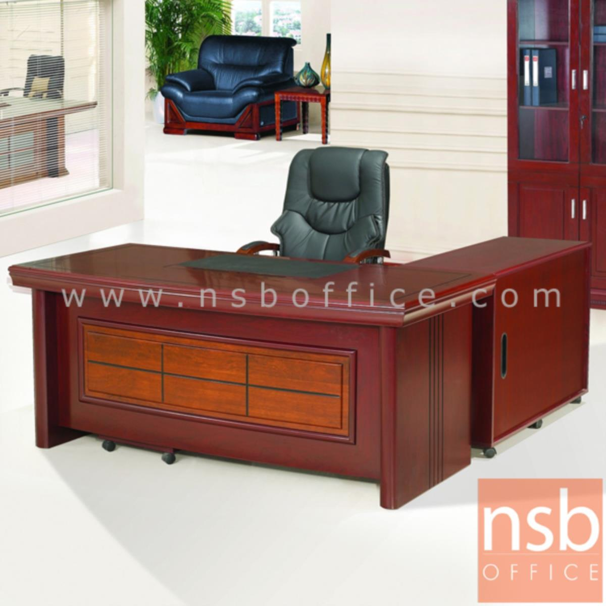 A06A066:โต๊ะผู้บริหารตัวแอล  รุ่น Schneider (ชไนเดอร์) ขนาด 160W ,180W ,200W cm. พร้อมตู้ลิ้นชักและตู้ข้าง