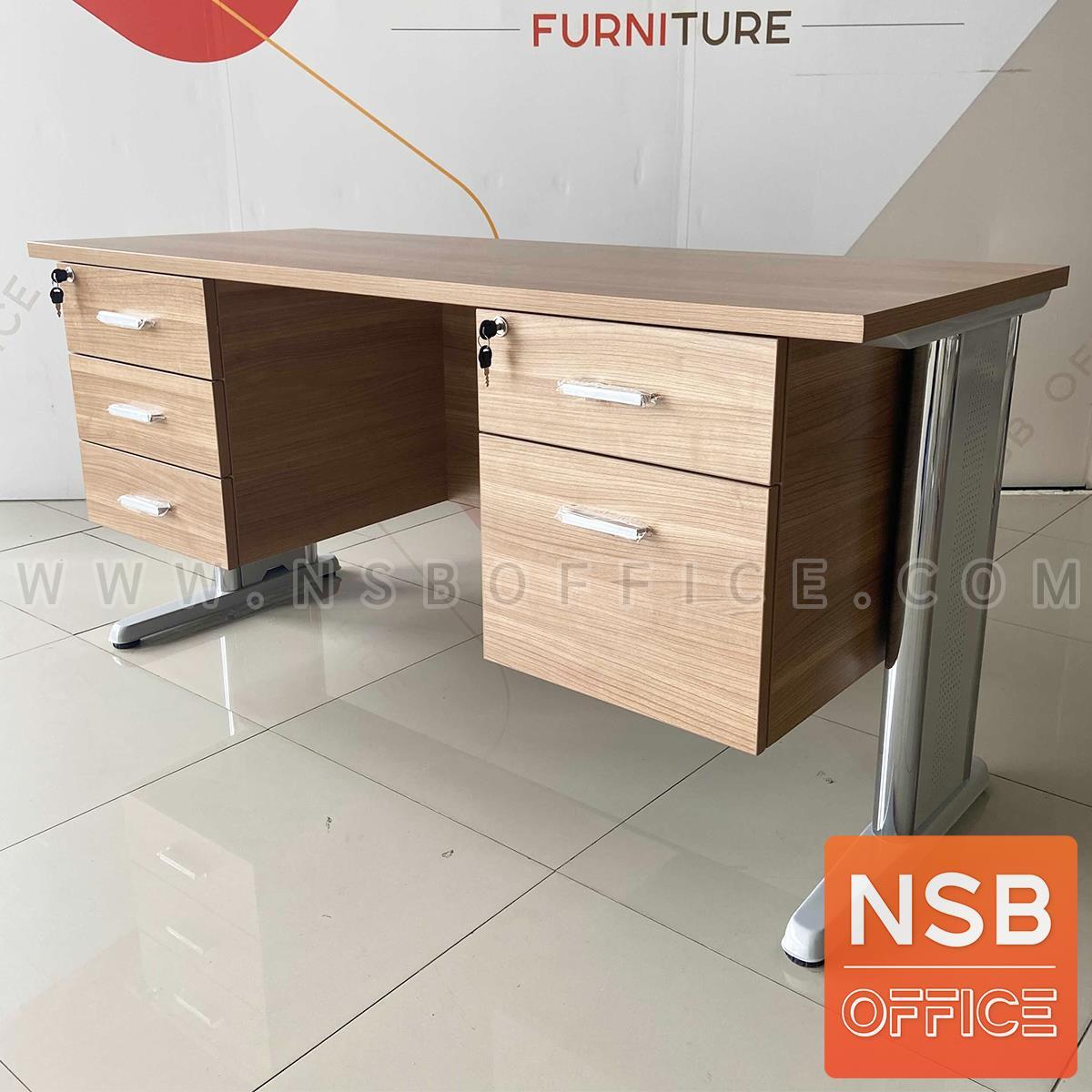 โต๊ะทำงาน 5 ลิ้นชักข้าง  ขนาด 150W ,165W ,180W (*75D,80D) cm. เมลามีน
