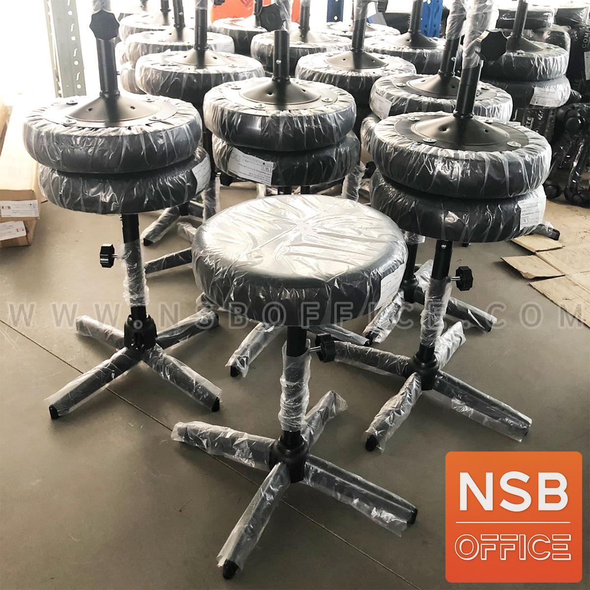 เก้าอี้บาร์สตูลที่นั่งกลม รุ่น Norabel (นอร่าเบล) ขนาด 30.5Di*49H cm. ขาเหล็กพ่นดำ 4 แฉก