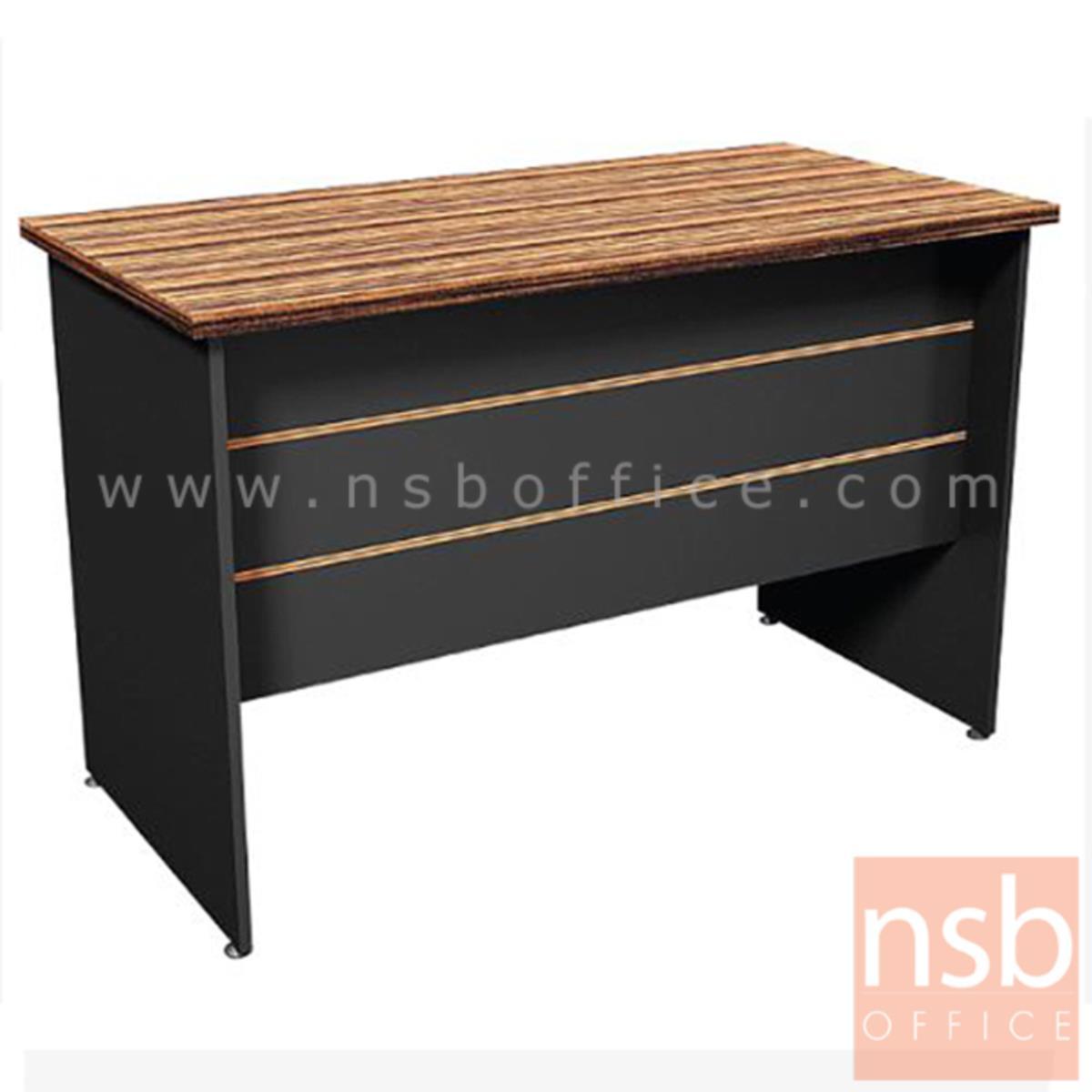 โต๊ะทำงาน รุ่น Denton (เดนตัน) ขนาด 120W ,150W cm.  ขาไม้ สีลายไม้ซีบราโน่ตัดดำ ขอบ ROSEGOLD