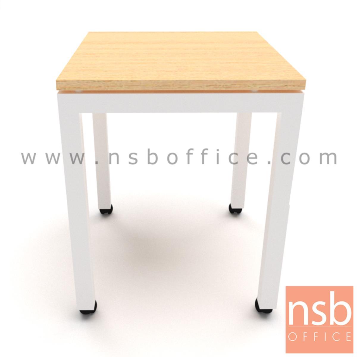 B30A044:โต๊ะโล่งล้อเลื่อน  ขนาด 60W, 70W, 120W, 140W cm.  เมลามีน ขาเหล็กพ่นสี ล้อเลื่อน