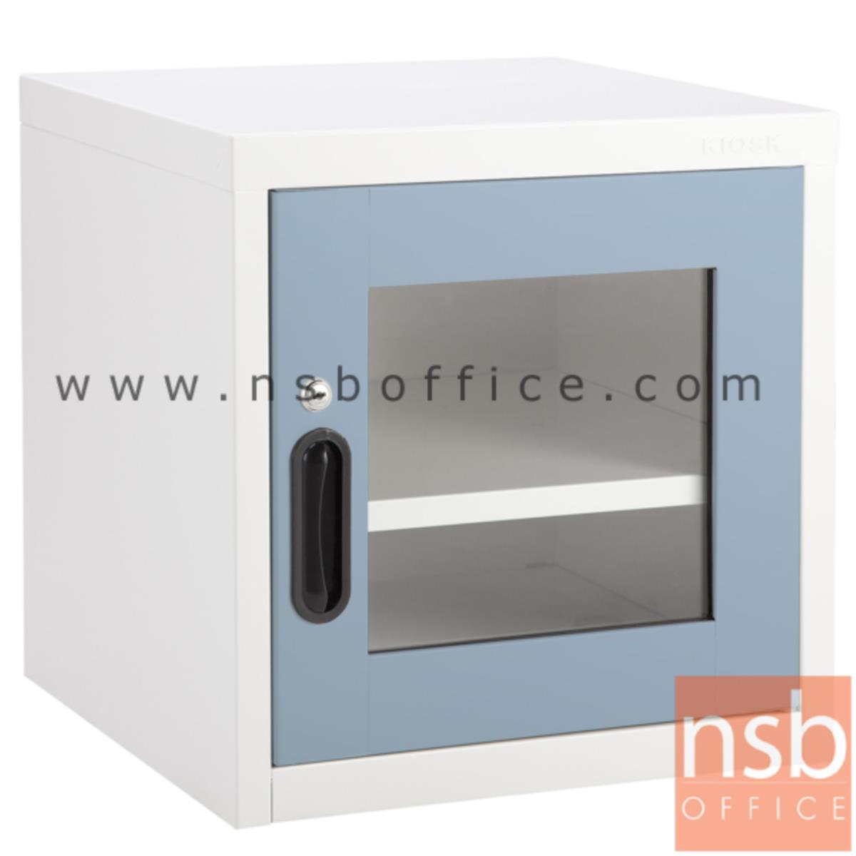 E25A002:ตู้เหล็ก 1 บานเปิดกระจก หน้าบานสีสัน 44W*40.7D*44H cm รุ่น UNI-2