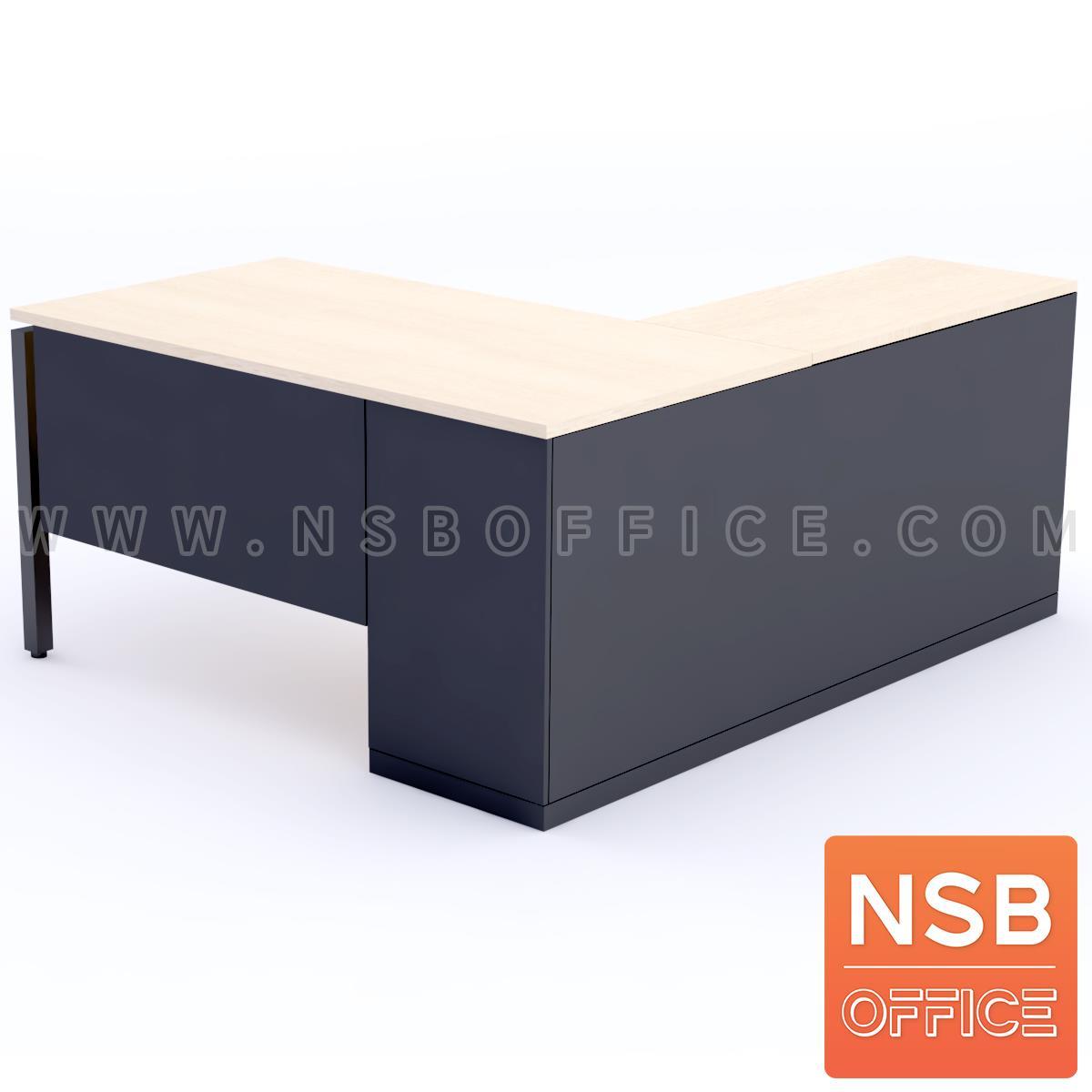 โต๊ะผู้บริหารตัวแอล  รุ่น Braxton (แบรกซ์ตัน) ขนาด 180W1 ,200W1*180W2 cm.  พร้อมตู้ข้าง ขาเหล็กกล่อง พร้อมป็อปอัพรหัส A24A034