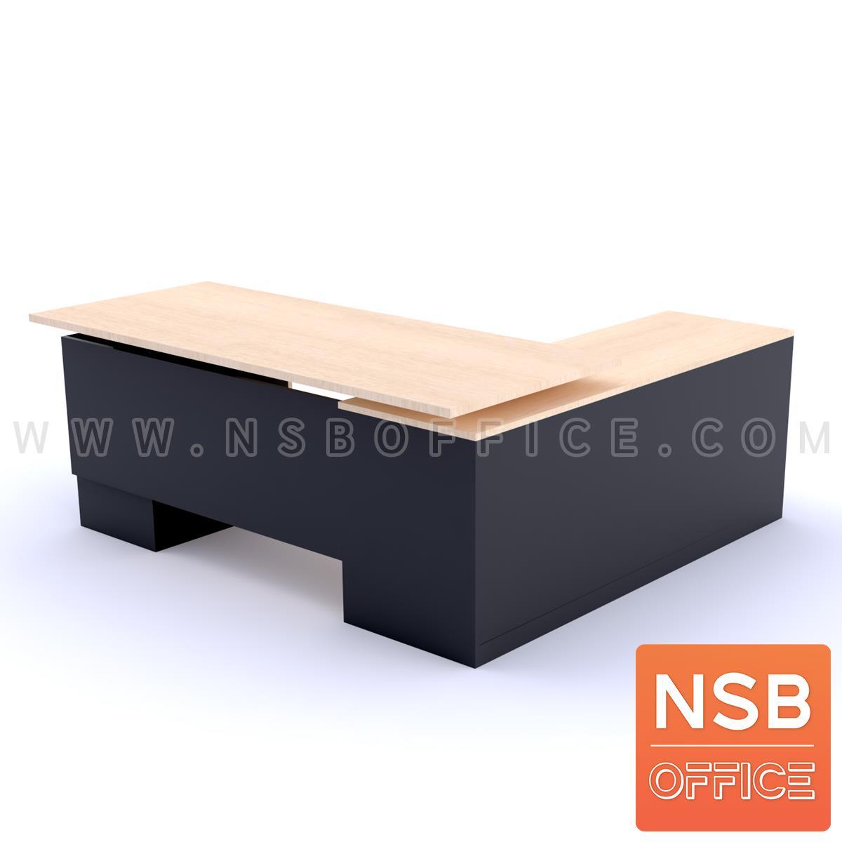 โต๊ะผู้บริหารตัวแอล 3 ลิ้นชัก รุ่น NOAH ขนาด 180W1*175W2 cm. พร้อมตู้ข้าง