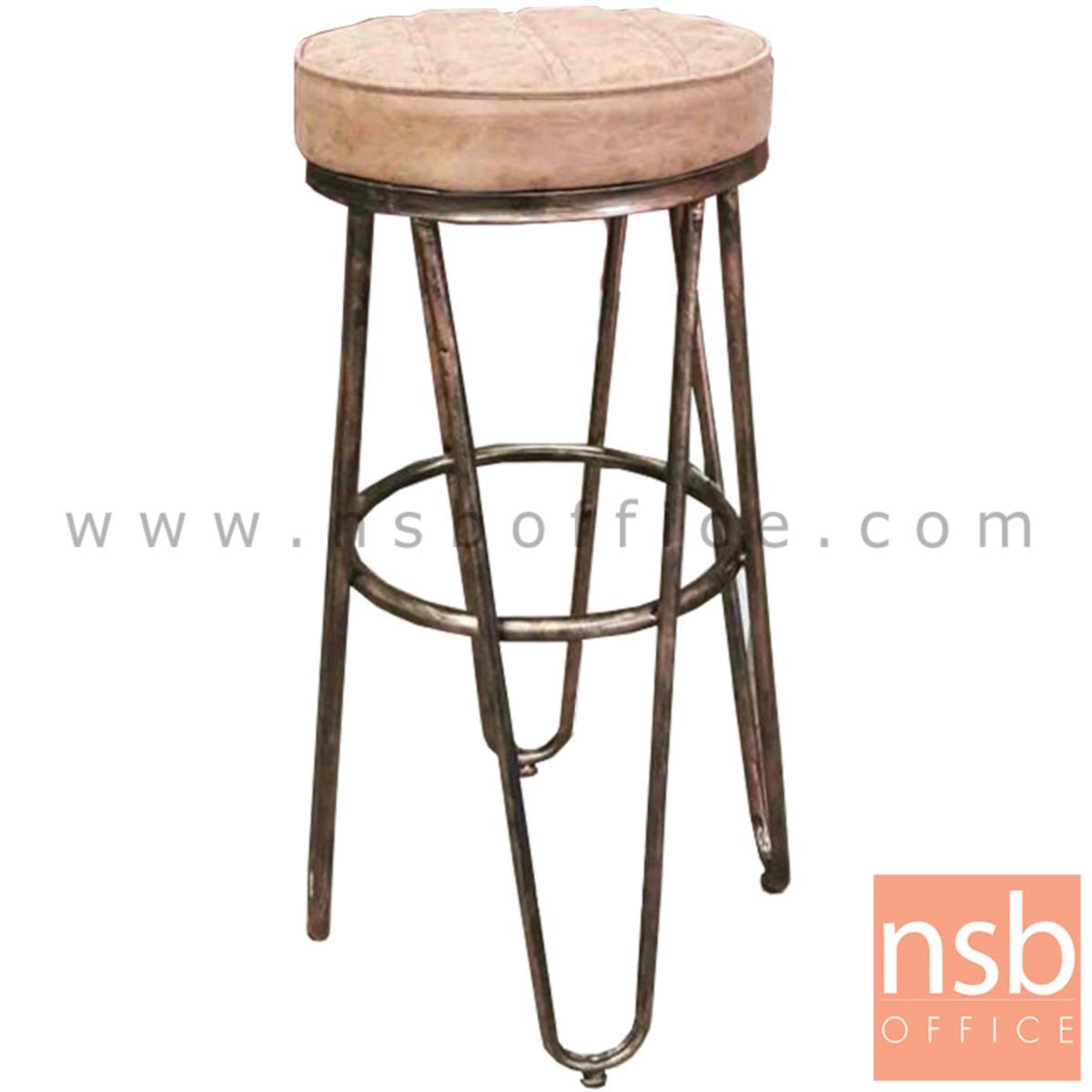 B18A074:เก้าอี้บาร์สูง รุ่น BC-CO ขนาด 33Di cm. โครงขาเหล็กสีทองตัดสีรมดำ