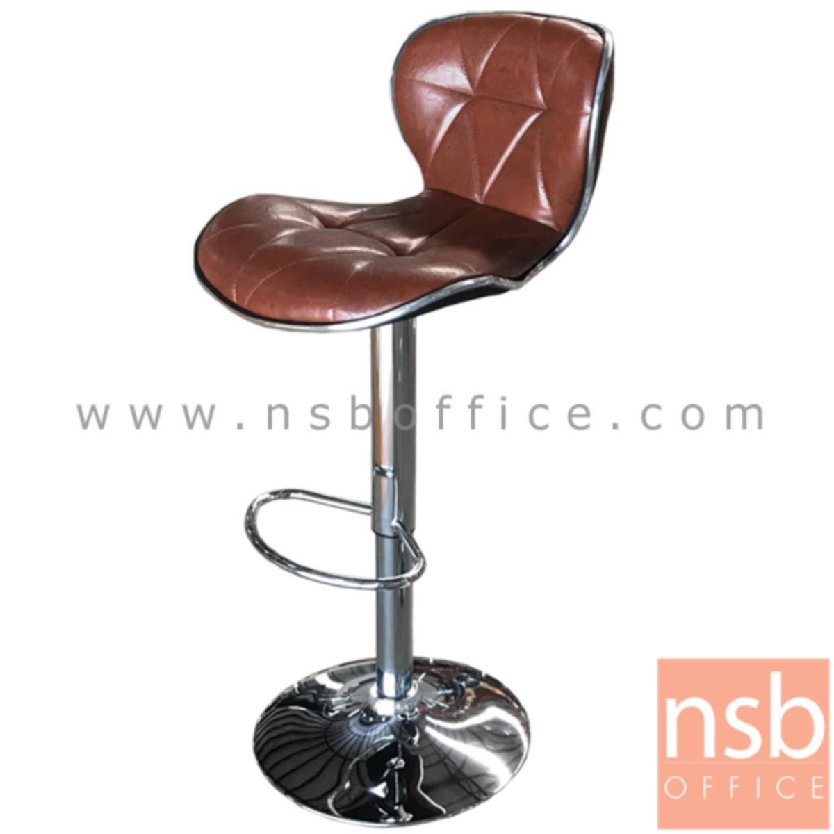 เก้าอี้บาร์สูงหนัง PU BY-CAST รุ่น Maroon (มารูน) ขนาด 46W cm. โช๊คแก๊ส ขาโครเมี่ยมฐานจานกลม