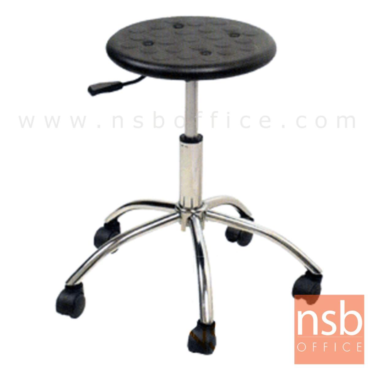 B09A082:เก้าอี้บาร์สตูลที่นั่งกลมล้อเลื่อน รุ่น Astin (แอสติน)  โช๊คแก๊ส ขาเหล็กชุบโครเมี่ยม