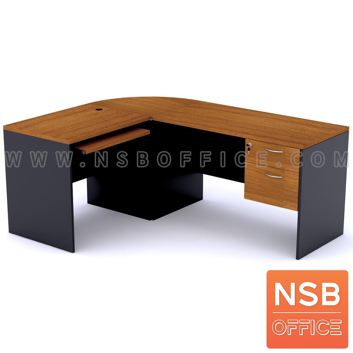A12A019:โต๊ะทำงานตัวแอล ชุด 2+1 ชิ้น รุ่น Richard (ริชาร์ด) ขนาด 180W1*140W2 cm. เมลามีน