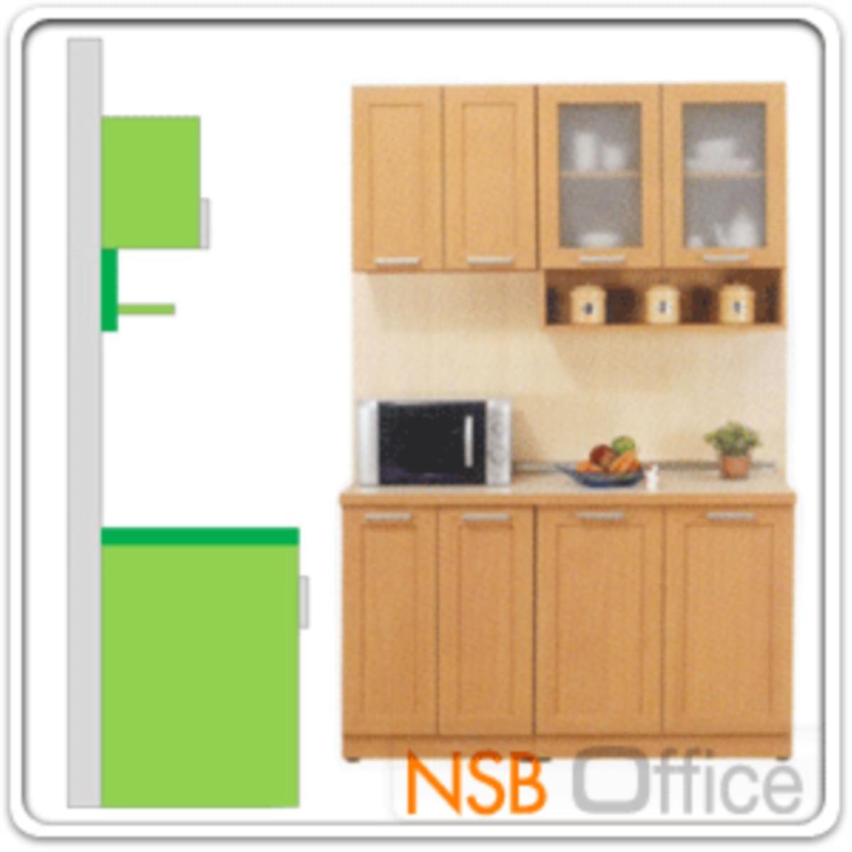 ชุดตู้ครัวหน้าเรียบ 140W cm.  รุ่น STEP-003  พร้อมตู้แขวนลอย