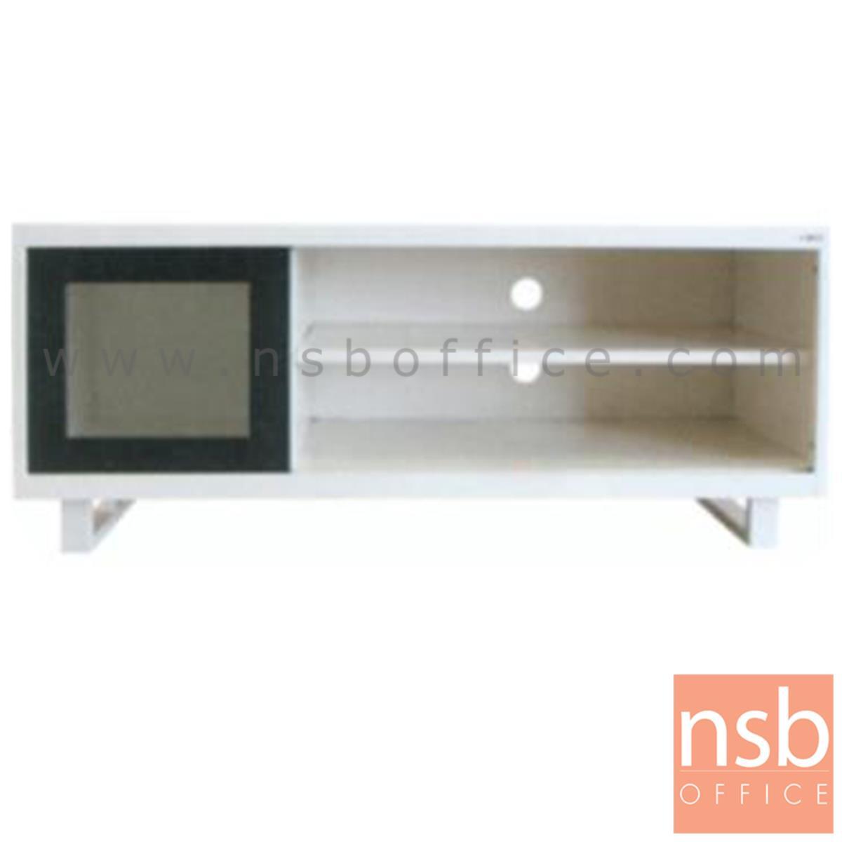 E25A012:ตู้เหล็กอเนกประสงค์ 1 บานเลื่อนกระจก 2 ชั้นโล่ง (รับ นน. 70 kg วางทีวีได้) 132W cm. รุ่น LT-001