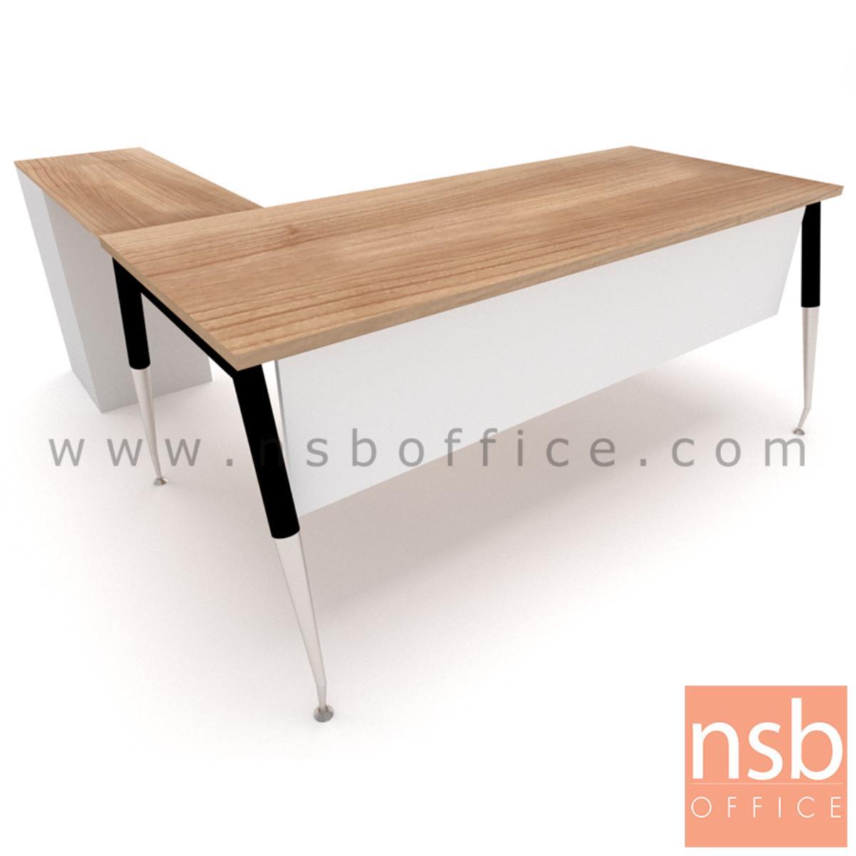 โต๊ะทำงานตัวแอล 3 ลิ้นชัก   ขนาด 180W1*175W2 cm. พร้อมบังตาไม้ ขาเหล็กชุบโครเมี่ยม