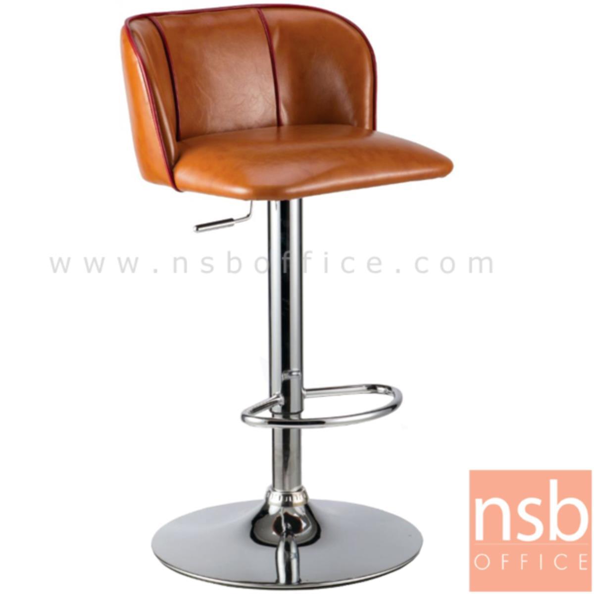 B18A028:เก้าอี้บาร์สูงหนัง PU รุ่น BHS-3671 ขนาด 48W cm. โช๊คแก๊ส ขาโครเมี่ยมฐานจานกลม