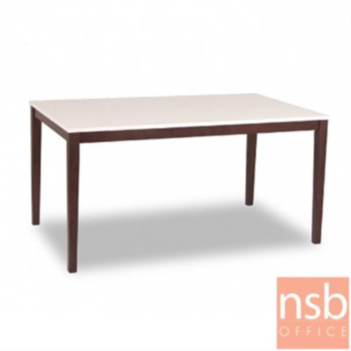 G14A165:โต๊ะรับประทานอาหารหน้าไฮกลอส  รุ่น GD-SK ขนาด 120W cm.  ขาไม้พ่นสีโอ๊ค
