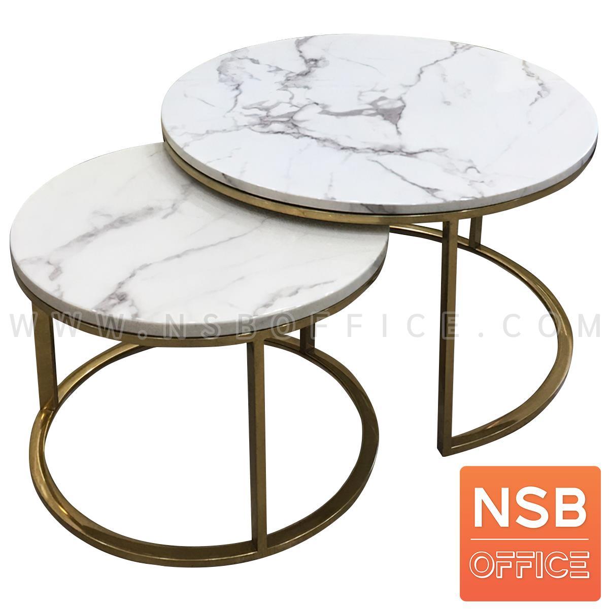 B13A303:โต๊ะกลางหินอ่อนสีขาว รุ่น Lightfine (ไลท์ไฟน์)   ขาสแตนเลสชุบทอง