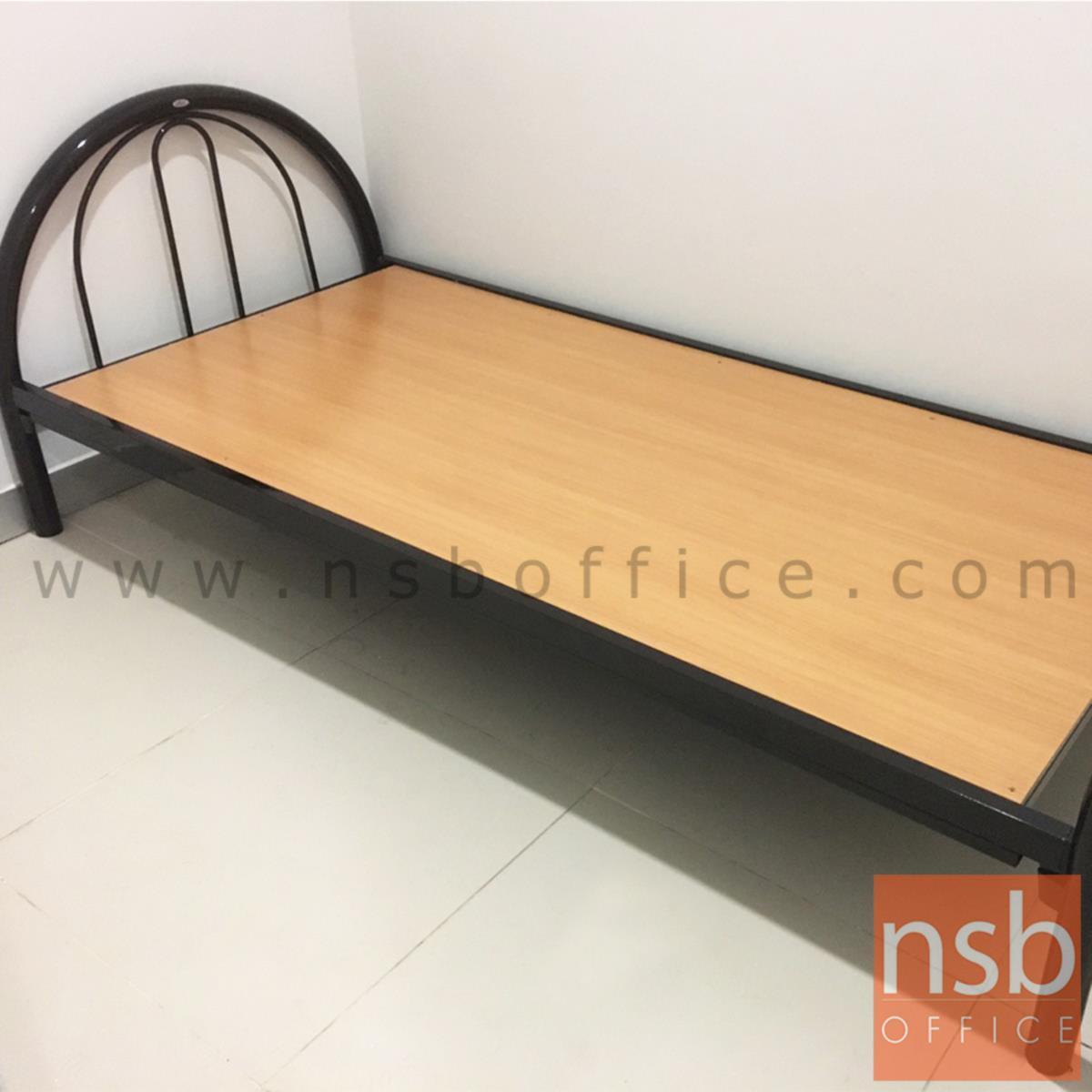 เตียงเหล็กชั้นเดียว  3 ,3.5 ฟุต B77/3 หนาพิเศษ 0.9 mm สีดำ (มีไม้พื้น ยึดติดโครงเหล็ก)