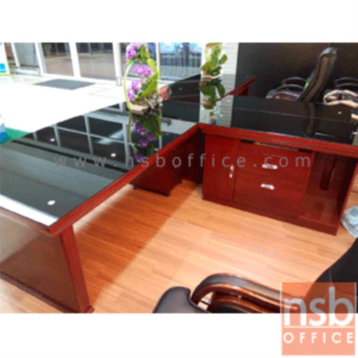 โต๊ะบริหารตัวแอลหน้ากระจก  รุ่น Murphy (เมอร์ฟี) ขนาด 200W cm. พร้อมตู้ข้างและตู้ลิ้นชัก