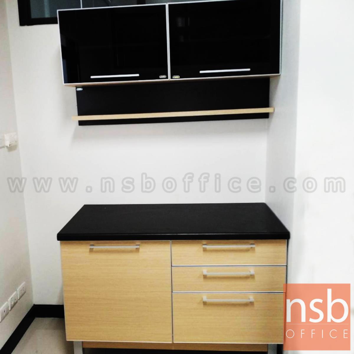 ชุดตู้ครัวสีบีทดำ 120W cm. รุ่น Step 91  (สำหรับครัวเปียกและครัวแห้ง)