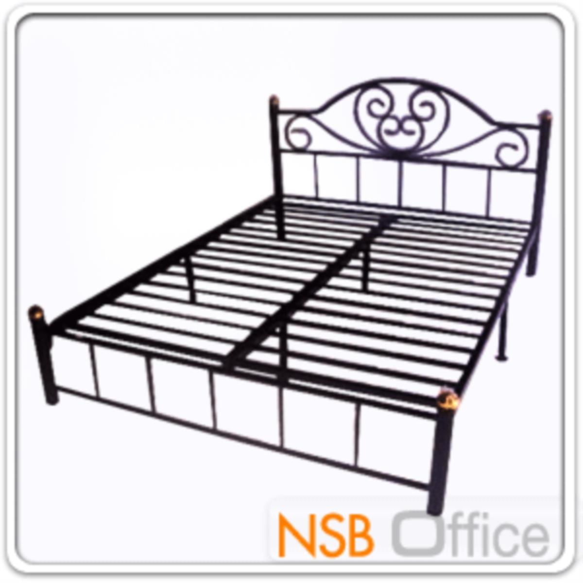 เตียงเหล็ก 6 ฟุต รุ่นมาตรฐาน หนา 0.7 mm. ขนาด 182.88W* 200D* 33H cm (ลายบัว)
