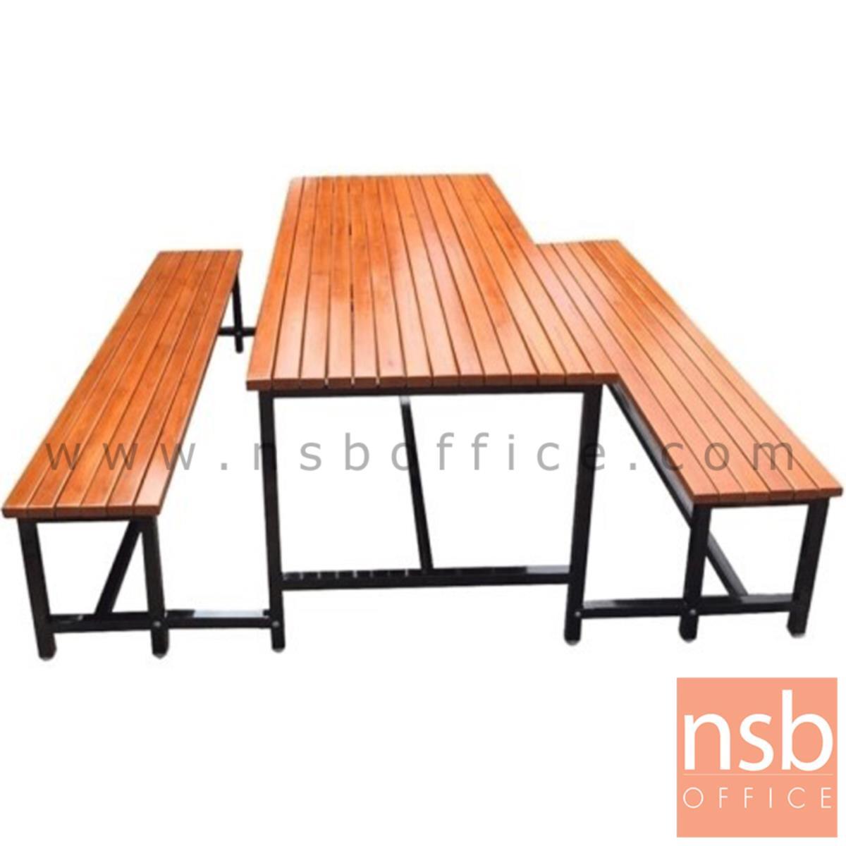 A17A077:โต๊ะโรงอาหารไม้สักตีระแนง รุ่น OHIO (โอไฮโอ) ขนาด 180W cm. ขาเหล็กเชื่อมติดกัน