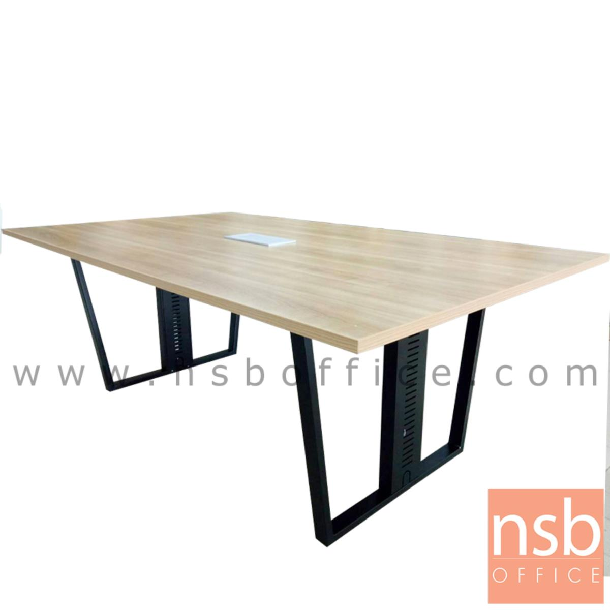 โต๊ะประชุมทรงสี่เหลี่ยม  ขนาด 200W ,240W cm.  พร้อมกระจังร้อยสายไฟ ขาเหล็กกล่อง