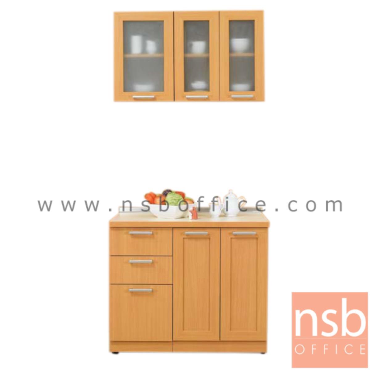 K03A020:ชุดตู้ครัวหน้าเรียบ 100W cm. รุ่น STEP-001  พร้อมตู้แขวนลอย
