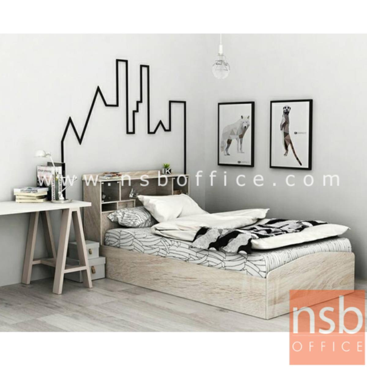 G12A217:เตียงนอนไม้ปาร์ติเกิ้ลบอร์ด มีโคมไฟ  รุ่น Acacia (อคาเซีย)  ขนาด 3.5 ฟุต (ไม่รวมที่นอน)