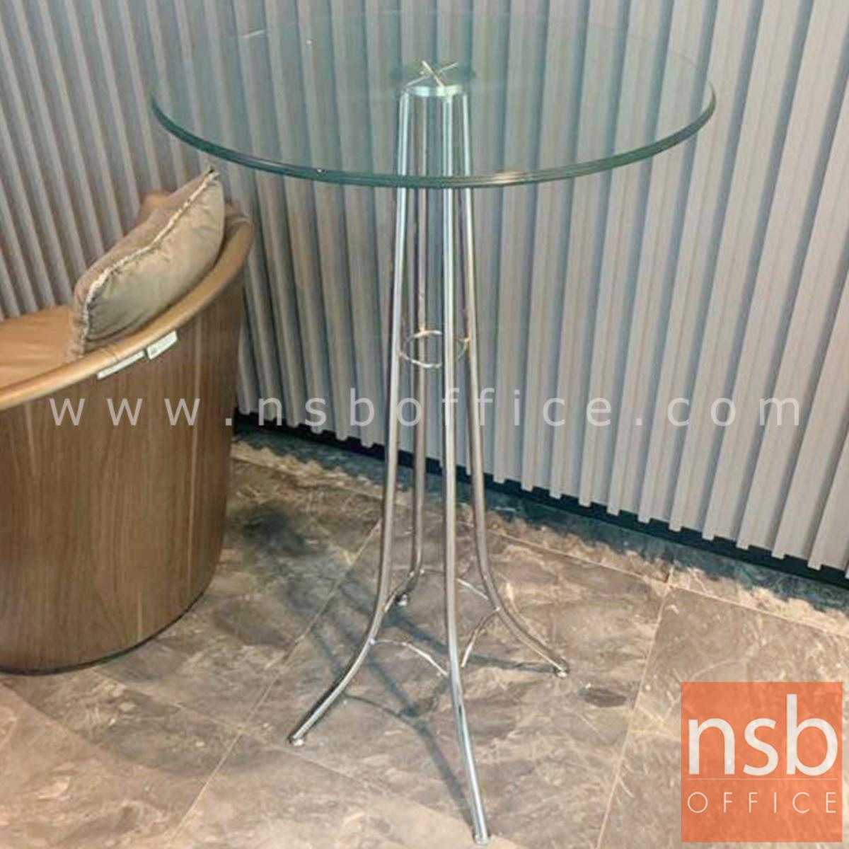 โต๊ะกลมหน้ากระจก รุ่น Witherspoon (วิเธอร์สปูน) ขนาด 60Di cm.  โครงเหล็กชุบโครเมี่ยม