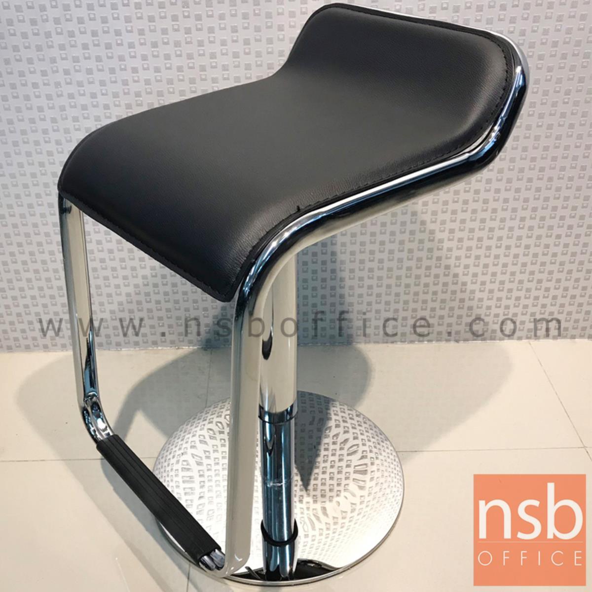 เก้าอี้บาร์สูงหนังเทียม รุ่น Shasta (ชาสต้า) ขนาด 35W cm. ฐานสเตนเลสแผ่นเรียบ (งานโรงแรม)