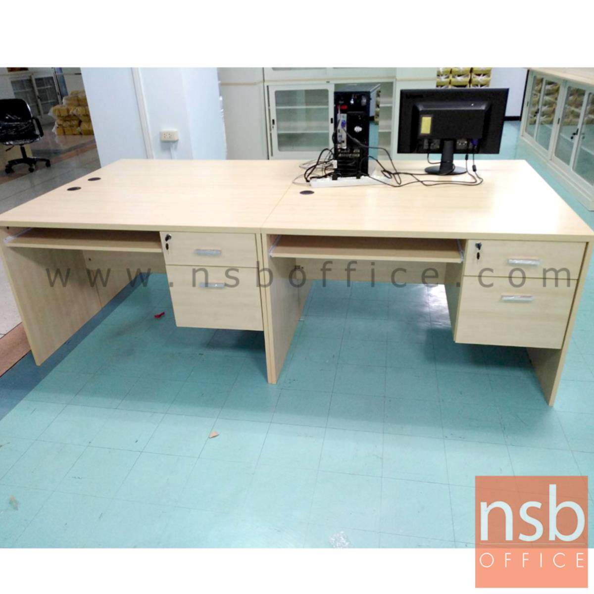 โต๊ะคอมพิวเตอร์ 2 ลิ้นชัก  รุ่น Thicke (ธิก) ขนาด 120W ,135W ,150W*60D ,75D cm.  พร้อมรางคีย์บอร์ด เมลามีน