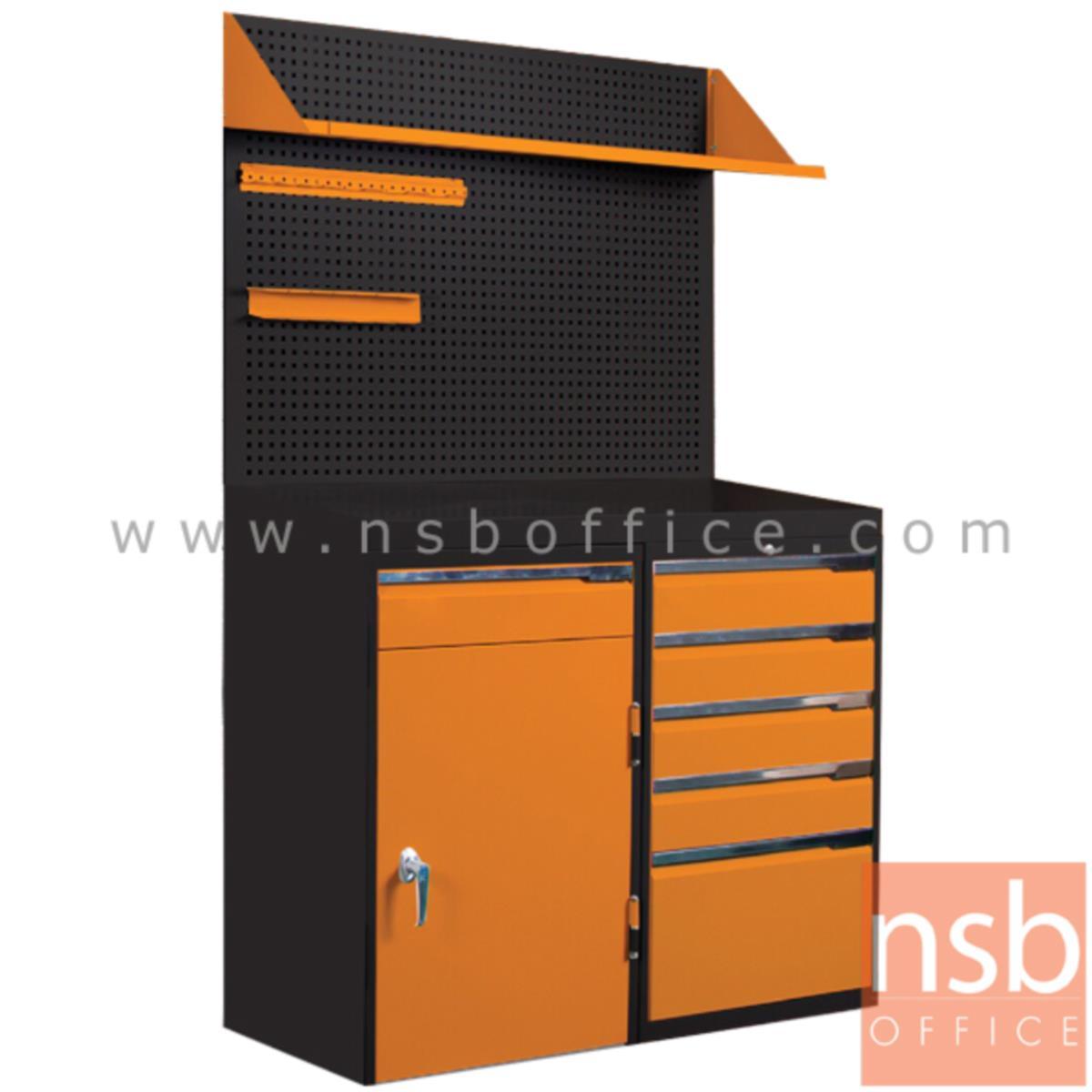 E09A020:ชุดตู้เก็บเครื่องมือช่าง 1 บานเปิด 5 ลิ้นชัก 123.5W cm. พร้อมแผ่นท็อปแผ่นชั้นและอุปกรณ์เสริม