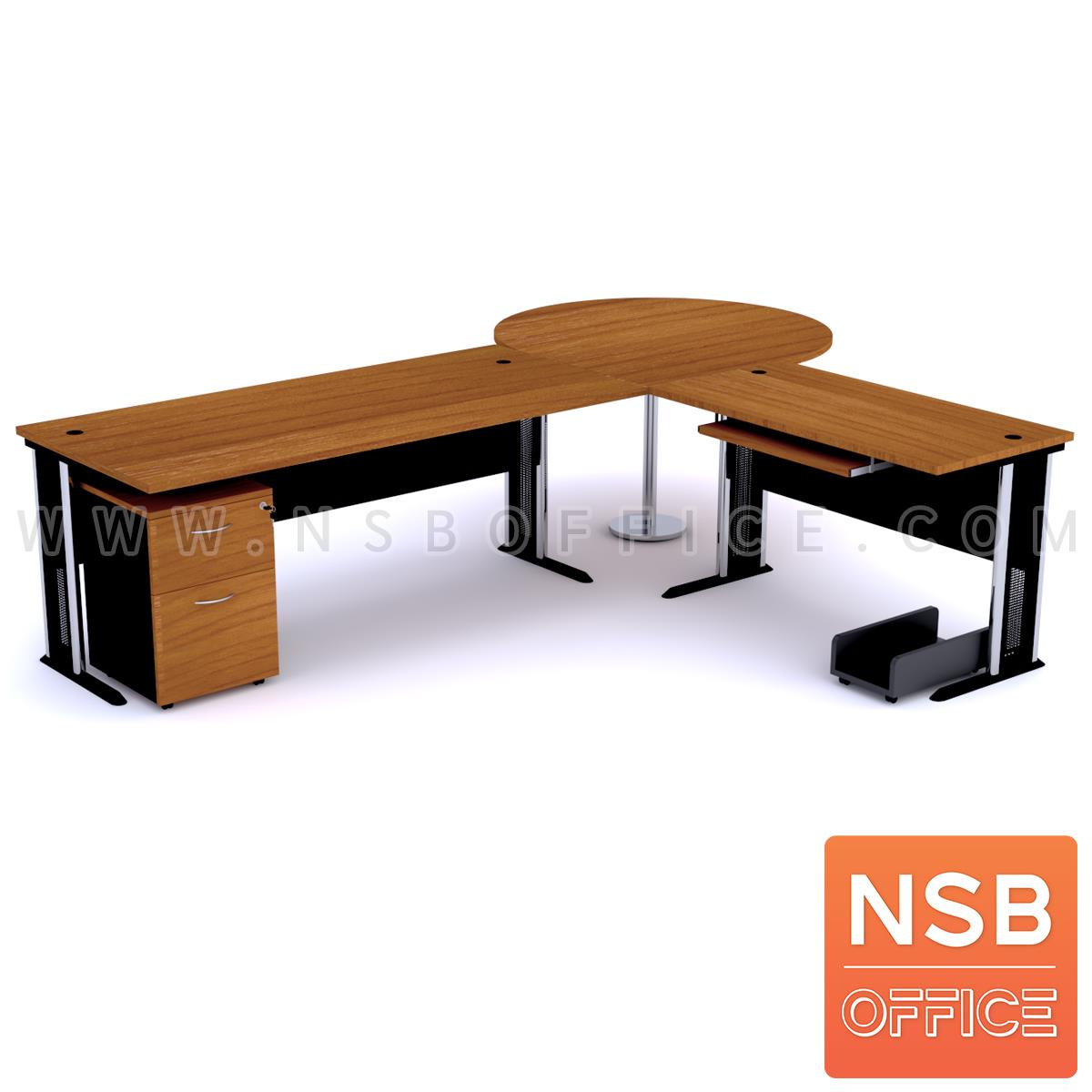 A13A030:โต๊ะผู้บริหารตัวแอล   ขนาด 280W1*240W2 cm. ขาเหล็กโครเมี่ยมดำ สีเชอร์รี่-ดำ *แอลตามภาพเท่านั้น*