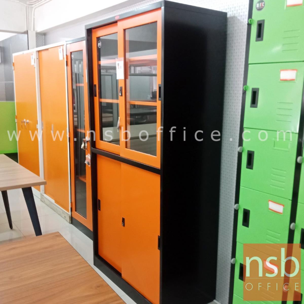 ตู้เอกสารบานเลื่อน บนกระจกล่างทึบ รุ่น PPK-301 หน้าบานสีสันโครงตู้สีดำ