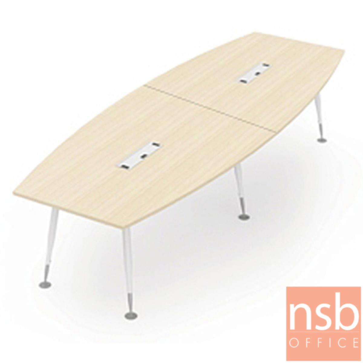 A05A182:โต๊ะประชุมทรงเรือ  ขนาด 320W cm.  พร้อมป็อบอัพ ขาเหล็ก