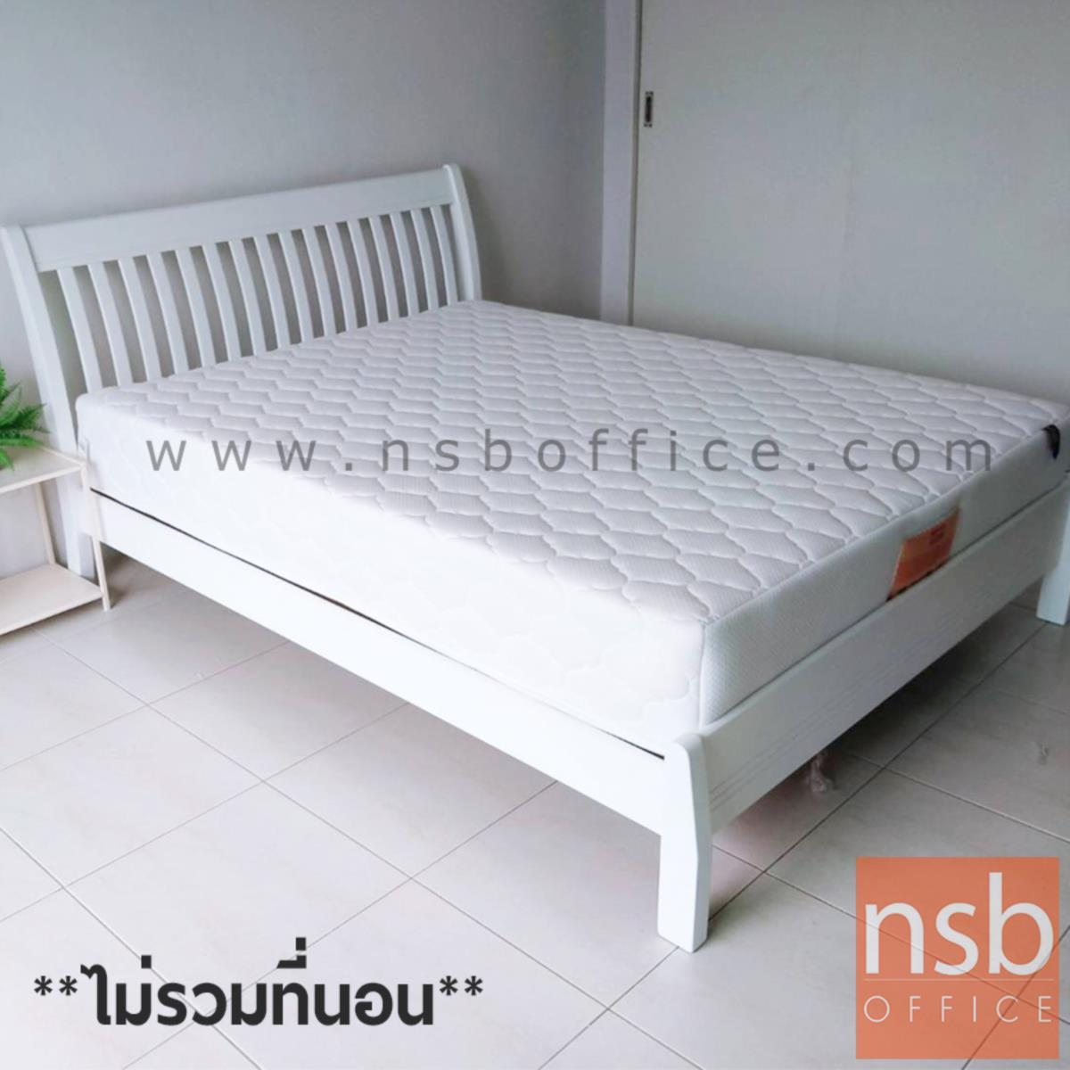 เตียงไม้ยางพาราล้วน รุ่น MERRY-FU 5 และ 6 ฟุต หัวเตียงไม้ระแนง