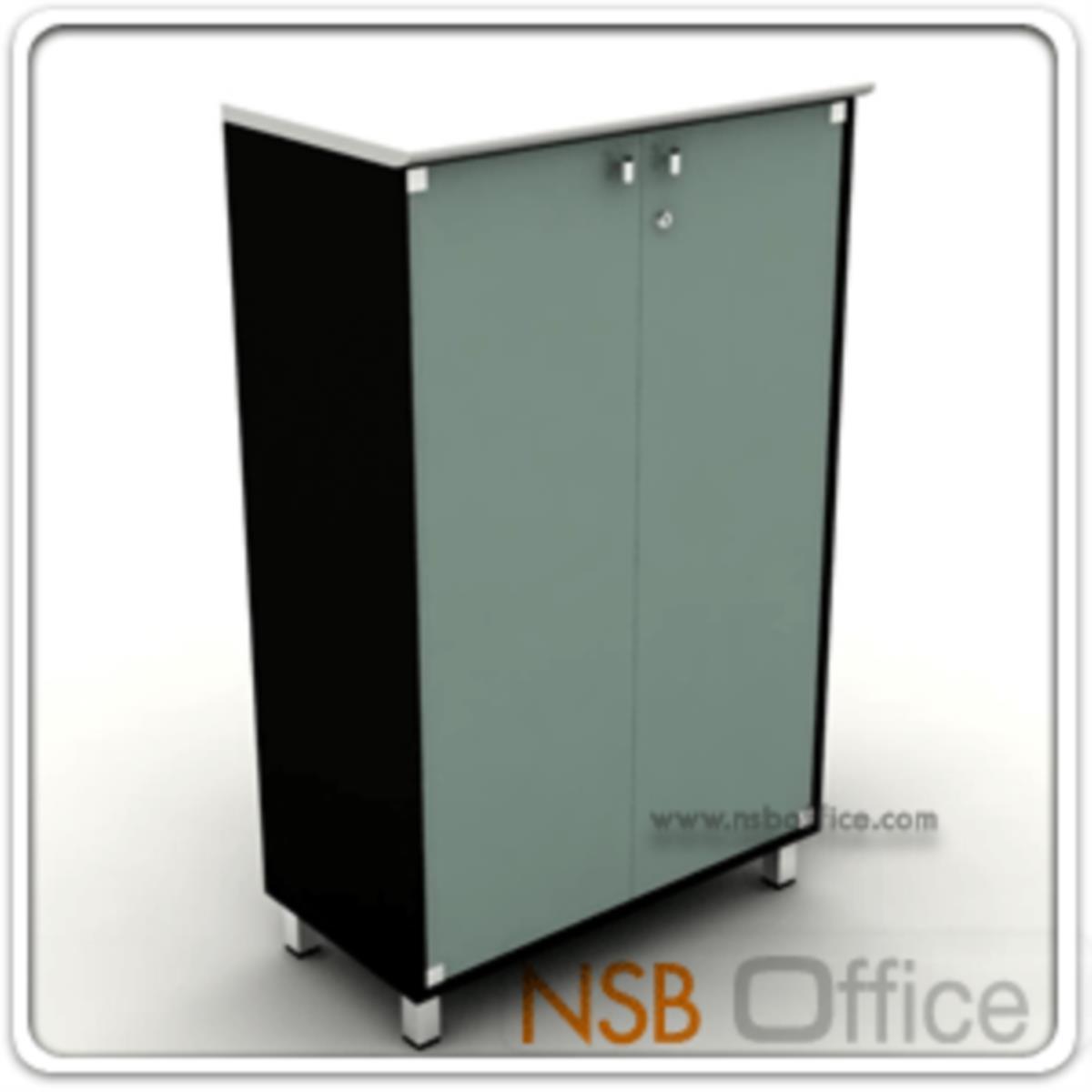 ตู้เสริมข้าง สูง 130 cm. 2 บานเปิดกระจก ผิวเงา Hi-Gloss  รุ่น HTY-NAVA  ขาเหล็กชุบโครเมี่ยม
