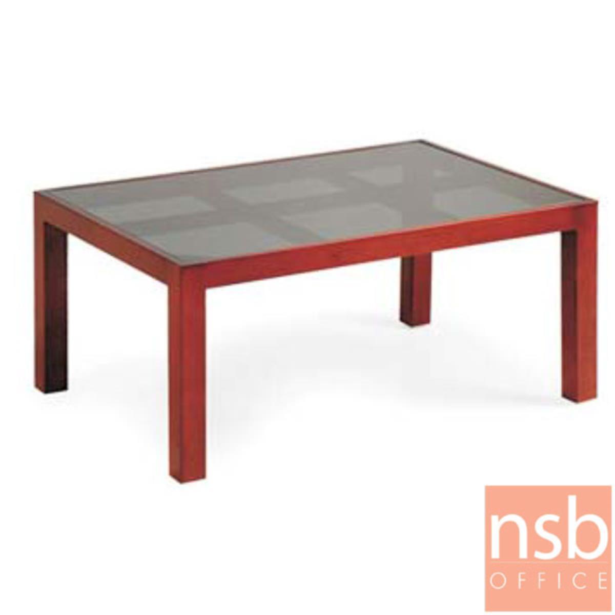 B13A255:โต๊ะกลางกระจกสีชา รุ่น TB-3 ขนาด 90W cm.  โครงไม้ยางพารา