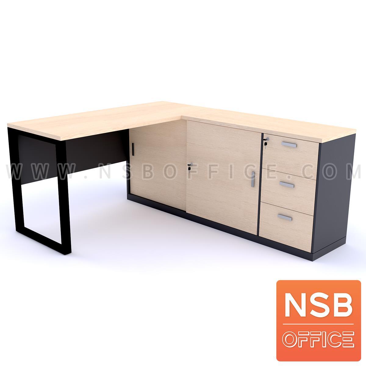 A18A049:โต๊ะทำงานตัวแอล รุ่น Pixies (พิกซี่ส์) ขนาด 140W1*170W2 cm. พร้อมตู้ข้าง