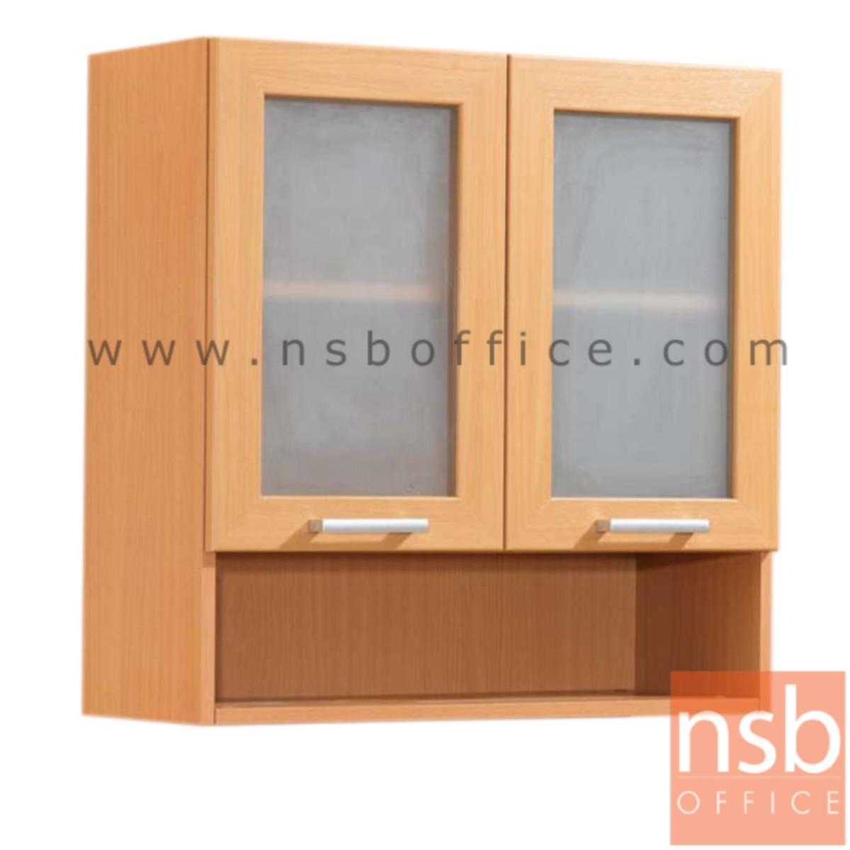 K03A016:ตู้แขวนบานเปิดกระจก-ล่างช่องโล่ง สูง 80 ซม. รุ่น  Wisconsin 3 มือจับอลูมิเนียม