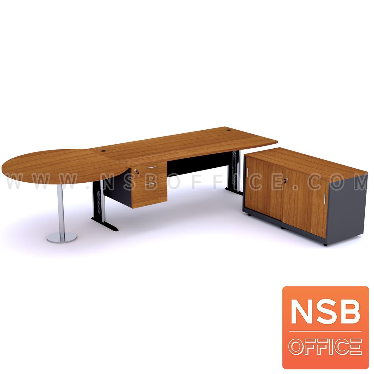A13A031:โต๊ะผู้บริหารตัวแอล   ขนาด 300W cm. ขาเหล็กโครเมี่ยมดำ สีเชอร์รี่-ดำ *แอลตามภาพเท่านั้น*