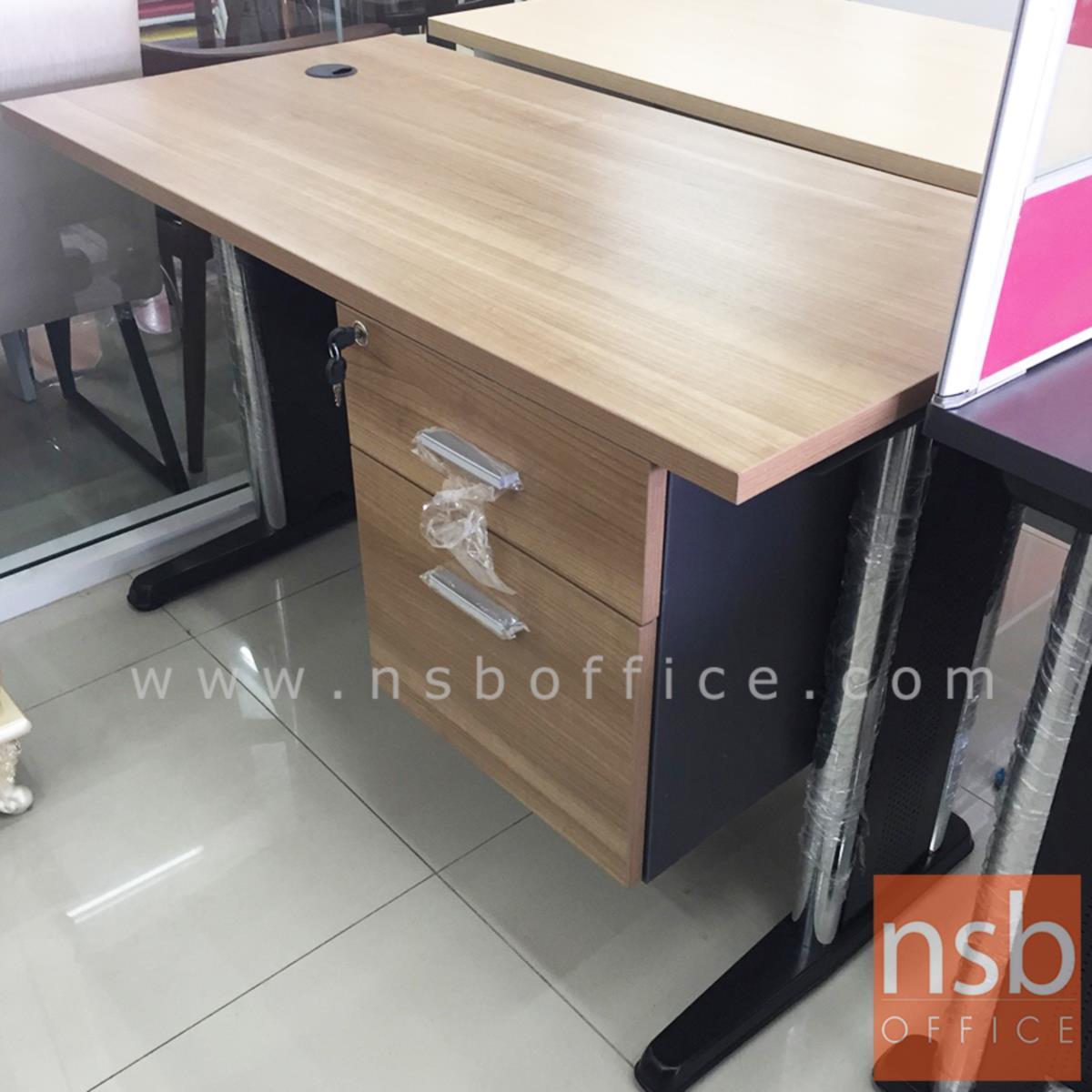 โต๊ะทำงาน 2 ลิ้นชัก  120W, 135W, 150W, 180W (75D, 80D) cm. บังตาไม้ ขาเหล็กตัวแอล
