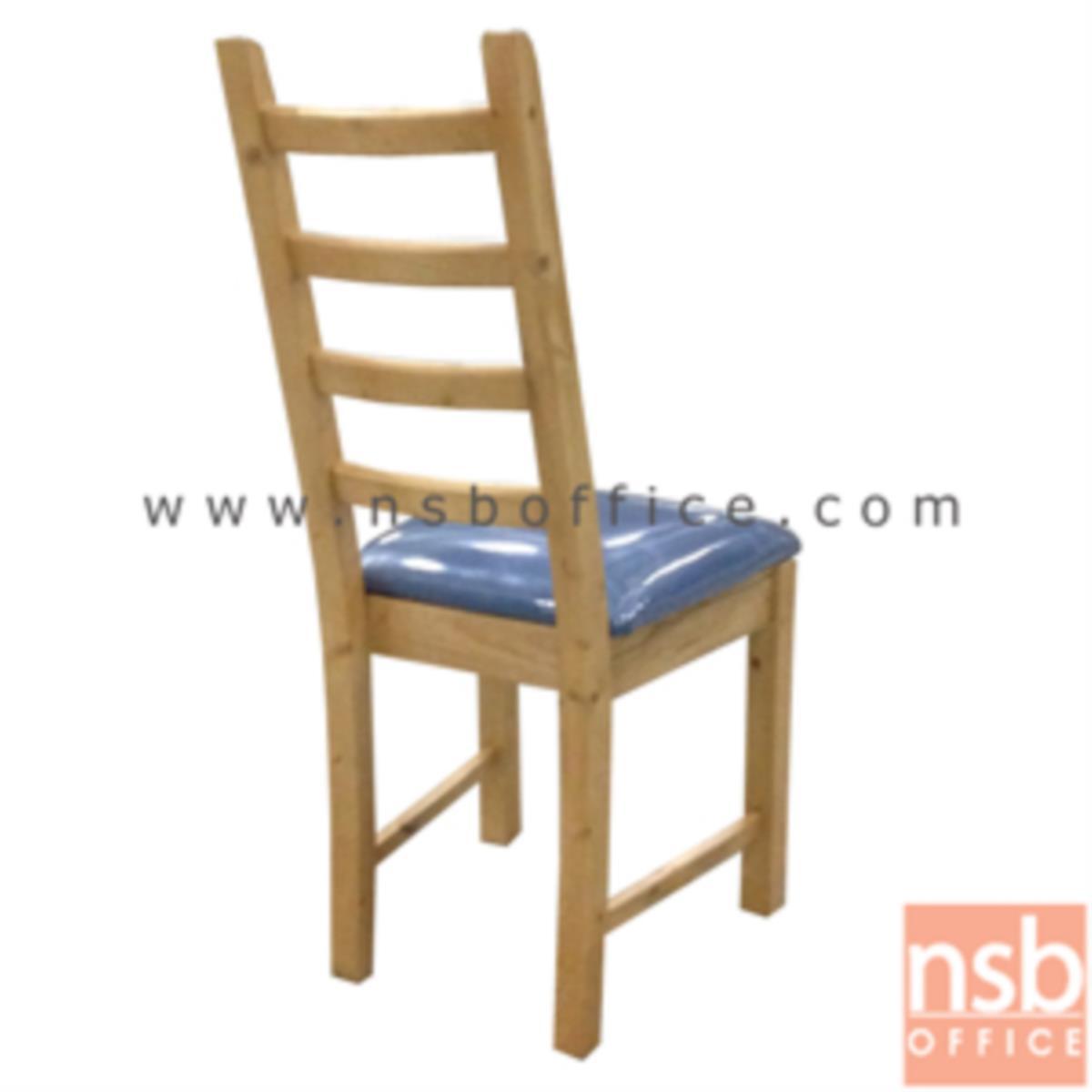 เก้าอี้ไม้ยางพาราหรือเก้าอี้ไม้นิวซีแลนด์ที่นั่งหุ้มหนังเทียม รุ่น Klara (คลาร่า) ขาไม้
